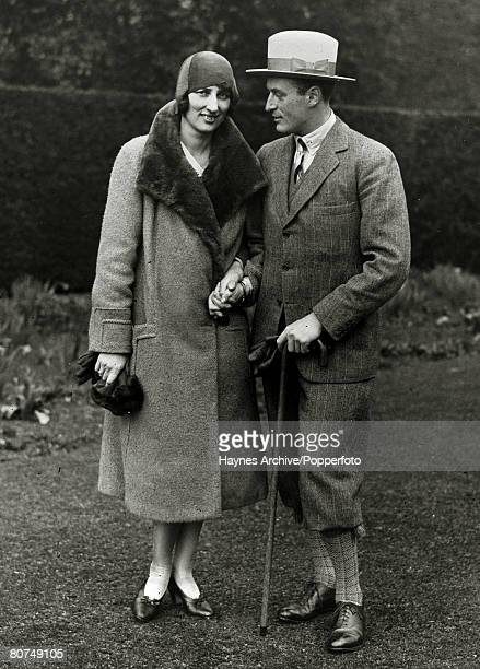 1929 Crown Prince Olav of Norway pictured with his bride Princess Martha of Sweden on their honeymoon at Sandrinham England the place of his birth...