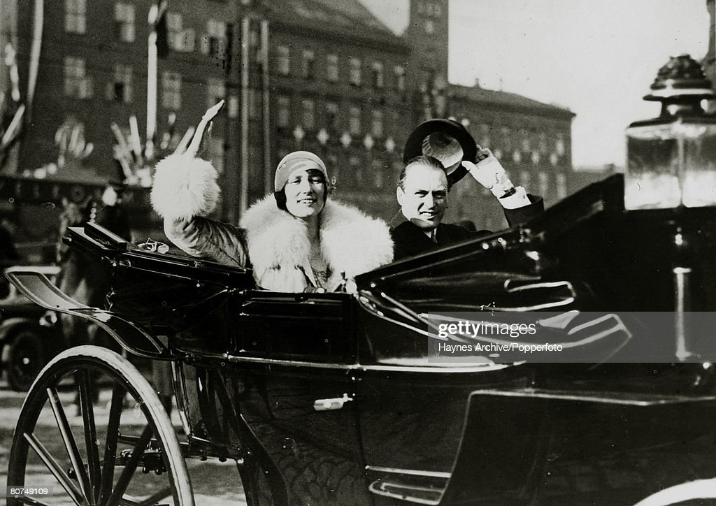 Foreign Royalty Personalities. pic: 1929. Crown Prince Olav (Olaf) of Norway with Princess Martha of Sweden as they drive through the streets of Oslo, with the Princess arriving for their royal wedding. Crown Prince Olav (1903-1991) succeeded his father : News Photo