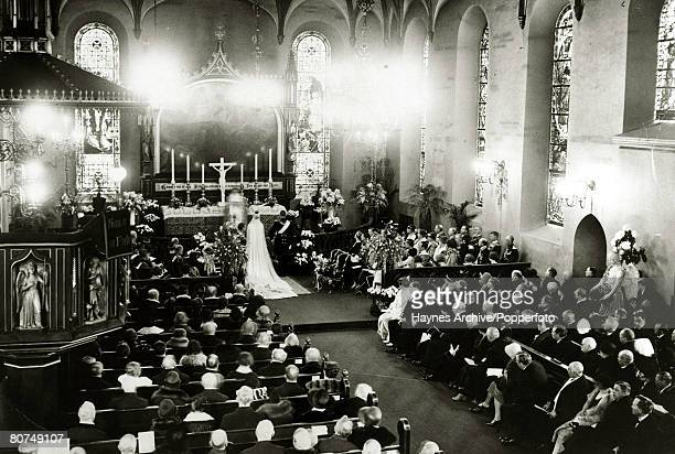 1929 The scene at the wedding in Oslo Cathedral as Crown Prince Olav of Norway marries Princess Martha of Sweden Crown Prince Olav succeeded his...