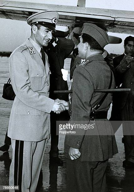 circa 1960 TehranThe Shah of Iran welcomes Iraq's Crown Prince Abdul Illah to discuss Middle East problems The Shah of Iran succeeded his father in...