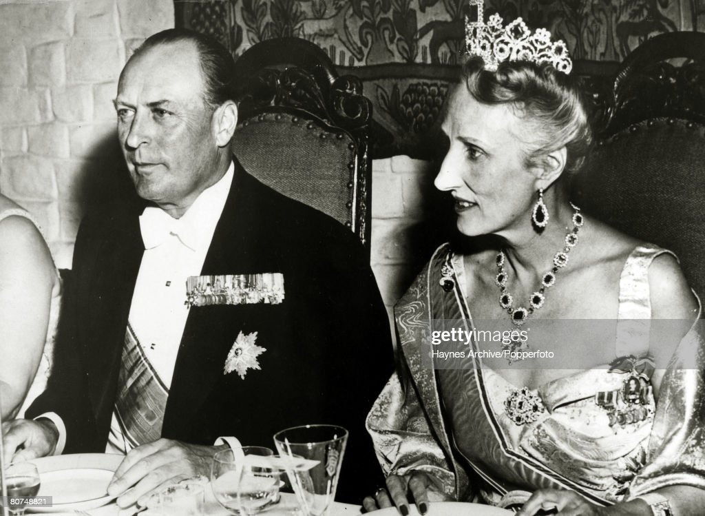 Foreign Royalty Personalities. pic: July 1953. Crown Prince Olav (Olaf) of Norway, portrait, pictured with his wife Princess Martha at a gala dinner at Akerskos Castle to celebrate his 50th birthday. King Olav (1903-1991) succeeded his father King Haakon : News Photo