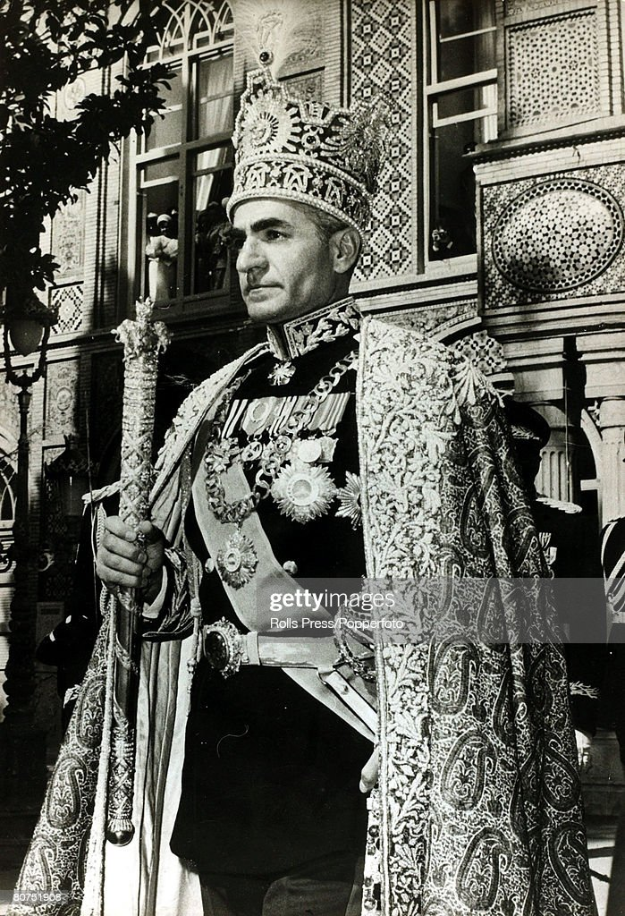 Foreign Royalty Personalities. pic: October 1967. The Shah of Iran (Persia) after the Coronation ceremony walks to the gold coach as he leaves the Golestan Palace. The Shah of Iran (1919-1980) succeeded his father in 1941, but was to leave Iran in 1979, : News Photo