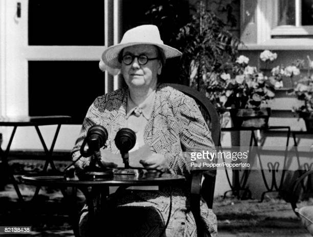 circa 1943 Queen Wilhelmina of the Netherlands Queen from making a wartime radio broadcast while in exile during World War II