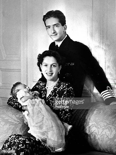 1945 King Peter II of Yugoslavia and Queen Alexandra and their baby son Crown Prince Alexander the family living in exile at this time as Yugoslavia...