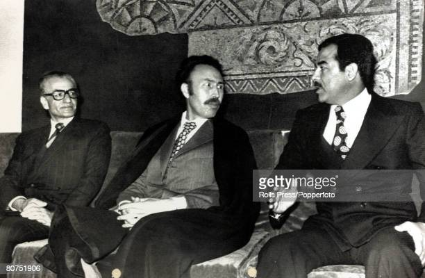 Foreign Royalty Politics Personalities pic March 1975 AlgiersThe Shah of Iran left with Algeria's President Houri Boumedienne centre and Saddam...