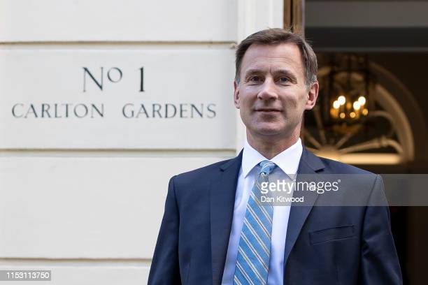 Foreign Secretary and Conservative leadership contender, Jeremy Hunt leaves his London residence on July 1, 2019 in London, England. Mr Hunt is due...