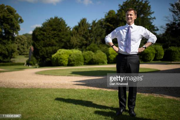 Foreign Secretary and Conservative leadership contender, Jeremy Hunt waits to take questions from party members during a visit to Chawton House on...