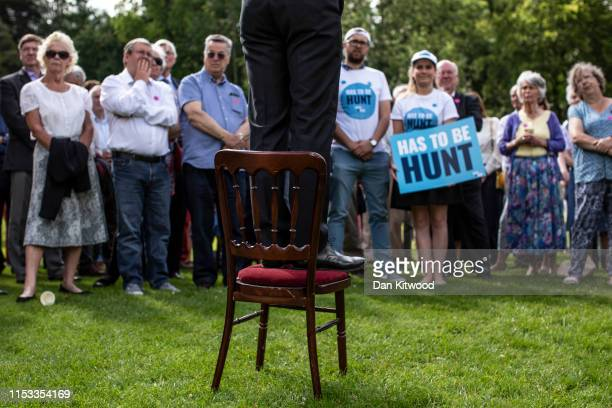 Foreign Secretary and Conservative leadership contender, Jeremy Hunt takes questions from party members during a visit to Chawton House on July 3,...