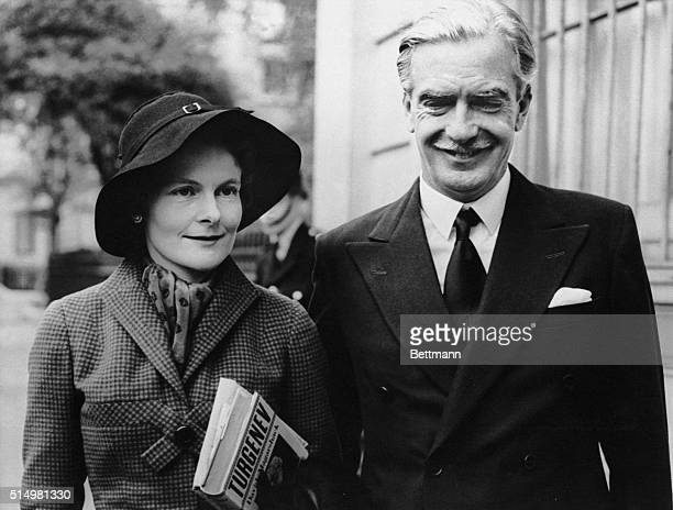 Foreign Secretary Anthony Eden is shown with his wife as they left Carlton Gardens for London Airport and flight to Paris and a meeting of the North...
