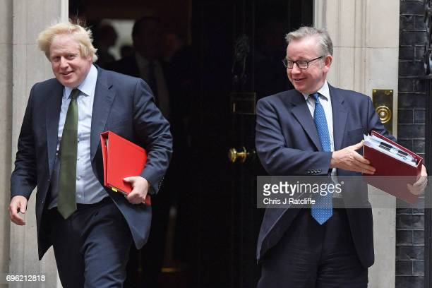 Foreign Secretary Boris Johnson and Environment Secretary Michael Gove leave 10 Downing Street on June 15 2017 in London England Prime Minister...