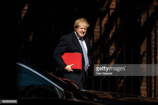 Foreign Secretary Boris Johnson arrives for a Cabinet meeting on 10 Downing Street on May 15 2018 in London England