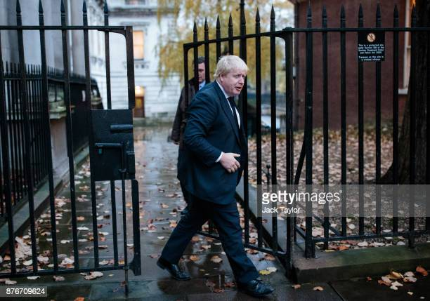 Foreign Secretary Boris Johnson arrives for a meeting at Downing Street on November 20 2017 in London England British Prime Minister Theresa May is...