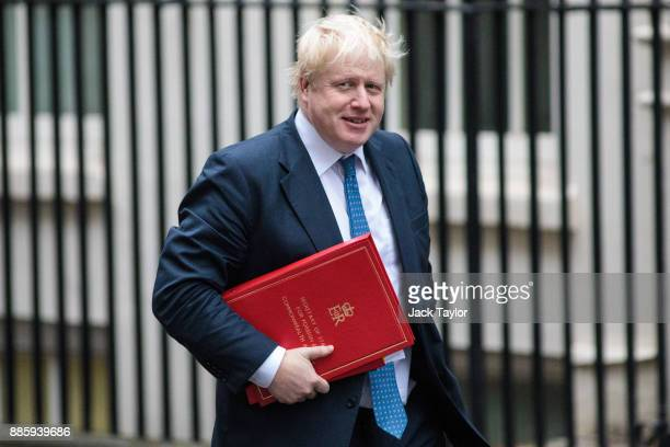 Foreign Secretary Boris Johnson arrives for the weekly cabinet meeting at Downing Street on December 5, 2017 in London, England. British Prime...