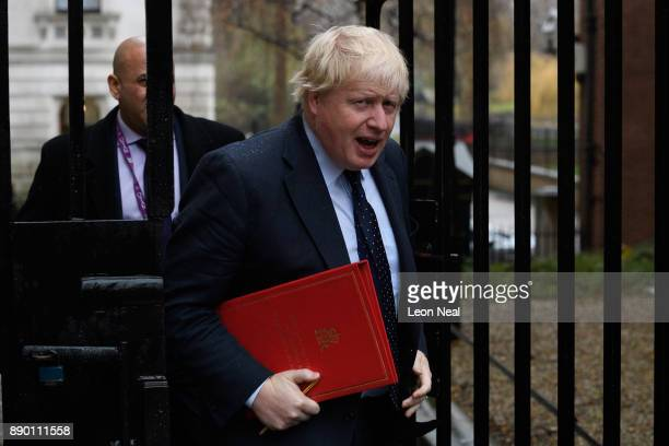 Foreign Secretary Boris Johnson arrives in Downing Street ahead of a cabinet meeting on December 11 2017 in London England