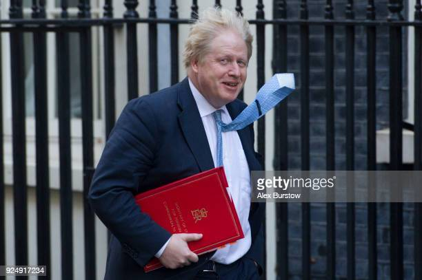 Foreign Secretary Boris Johnson arrives on Downing Street for the weekly cabinet meeting on February 27 2018 in London England