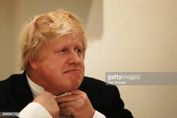 Foreign Secretary Boris Johnson attends the Lord Mayor of London's annual 'Easter Banquet' at Mansion House on March 28 2018 in London England The...