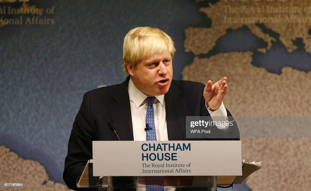 Boris Johnson Addresses Think Tank On The UK And Brexit : News Photo