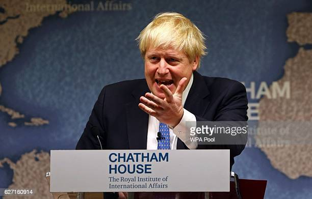 Foreign Secretary Boris Johnson delivers a speech at Chatham House on December 2 2016 in London England Johnson warned the world risks slipping back...