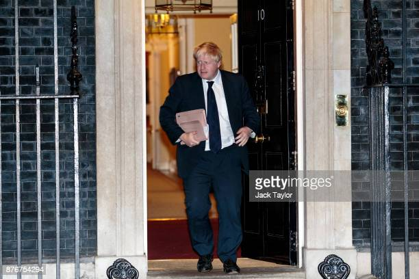 Foreign Secretary Boris Johnson leaves following a meeting at Downing Street on November 20 2017 in London England British Prime Minister Theresa May...