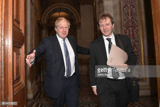 Foreign Secretary Boris Johnson meets with Richard Ratcliffe the husband of the detained BritishIranian woman Nazanin ZaghariRatcliffe arrives at the...