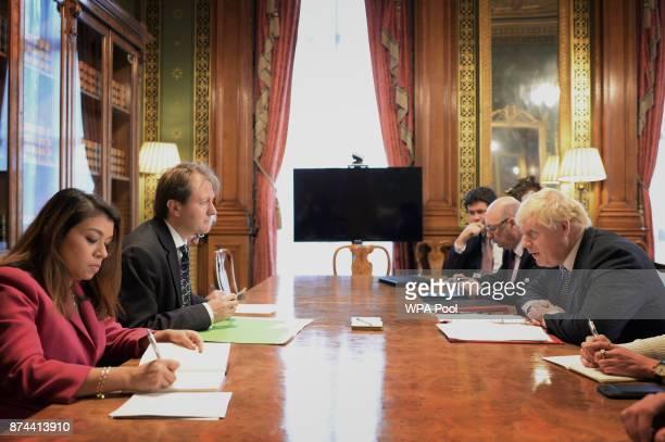 Foreign Secretary Boris Johnson meets with Richard Ratcliffe , the husband of the detained British-Iranian woman Nazanin Zaghari-Ratcliffe arrives at...
