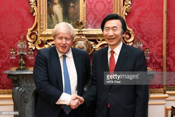 Foreign Secretary Boris Johnson shakes hands with Korean Foreign Minister Yun Byung-se for annual foreign policy talks at Lancaster House on February...