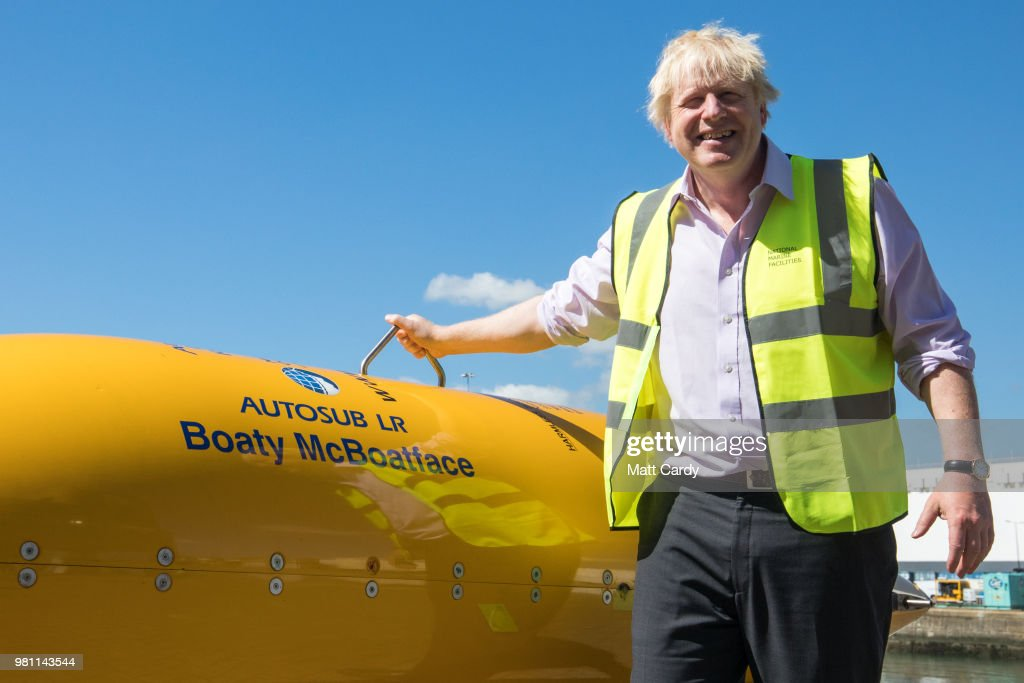 Foreign Secretary Boris Johnson stands next to Boaty McBoatface, a autonomous underwater vehicle (AUVs) used for scientific research, on a visit to National Oceanography Centre where he discussed the FCO Oceans Strategy on June 22, 2018 in Southampton, England.