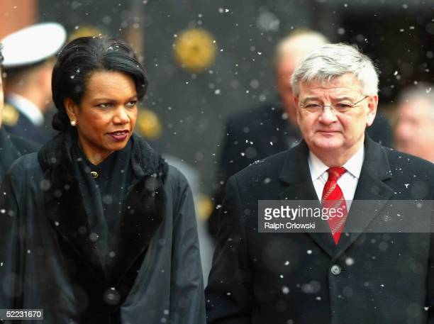Foreign Secretary Condoleezza Rice and Joschka Fischer, German Foreign Minister attend the welcoming ceremony of US President George W. Bush at the...
