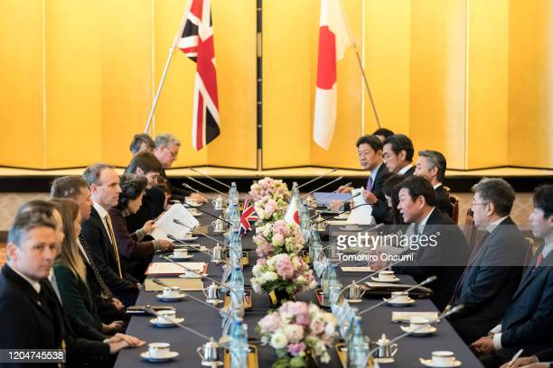 Foreign Secretary Dominic Raab and Japan's Foreign Minister Toshimitsu Motegi attend the eighth Japan-UK Foreign Ministers' Strategic Dialogue at...