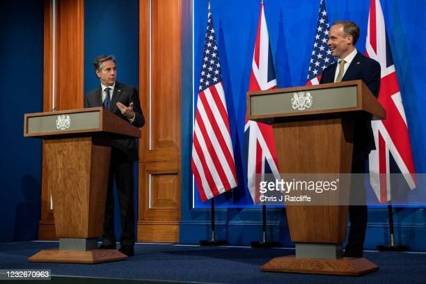 Foreign Secretary, Dominic Raab, and US Secretary of State, Antony Blinken, hold a joint press conference at Downing Street on May 3, 2021 in London,...