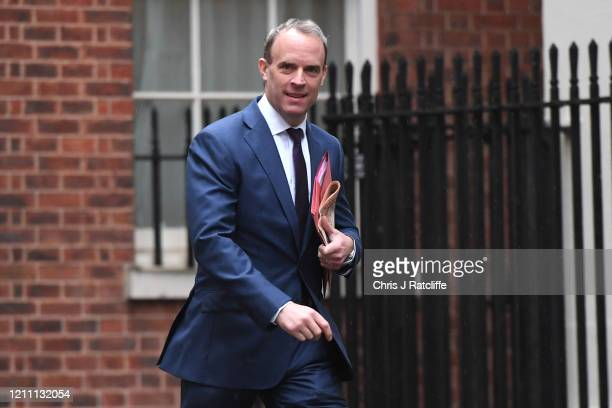 Foreign Secretary Dominic Raab arrives at Downing Street on April 28 2020 in London England British Prime Minister Boris Johnson who returned to...