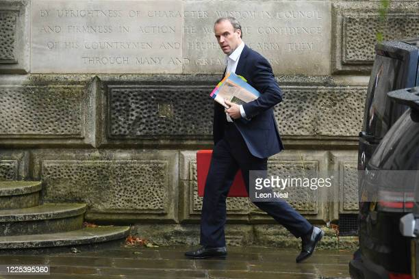 Foreign Secretary, Dominic Raab arrives at the Foreign and Commonwealth Office on July 8, 2020 in London, England. The Chancellor is expected to...