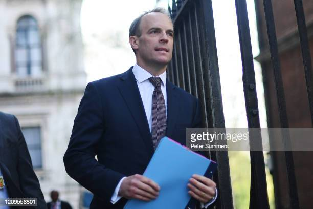 Foreign Secretary Dominic Raab arrives back at Downing Street on April 9 2020 in London England Prime Minister Boris Johnson was transferred to the...