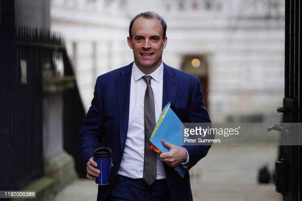 Foreign Secretary Dominic Raab arrives to meet with Prime Minister Boris Johnson in the wake of the killing Iranian general Qasem Soleimani on...