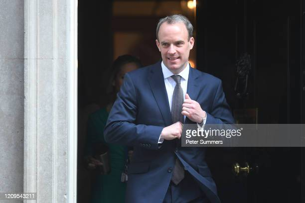 Foreign Secretary Dominic Raab leaves 10 Downing Street on April 9 2020 in London England Prime Minister Boris Johnson was transferred to the...