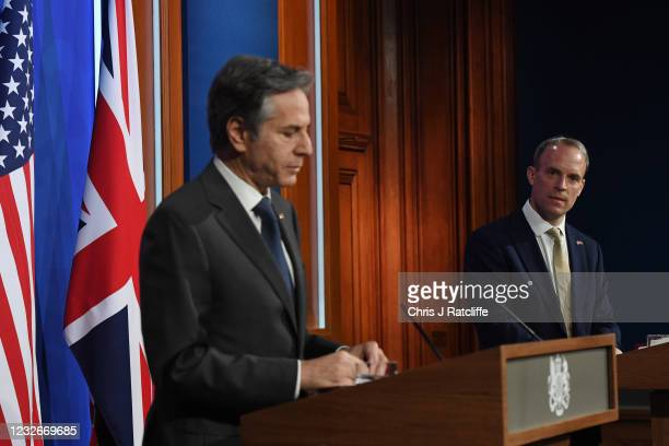 Foreign Secretary, Dominic Raab looks on as US Secretary of State, Antony Blinken speaks during a press conference at Downing Street on May 3, 2021...