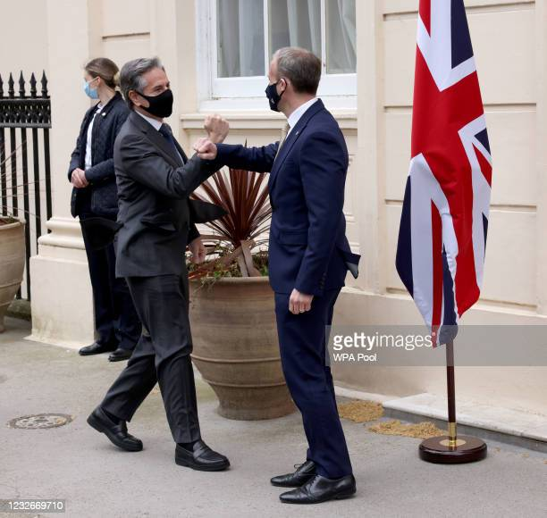 Foreign Secretary Dominic Raab meets US Secretary of State Antony Blinken at Carlton Gardens on May 3, 2021 in London, England. This is the first...