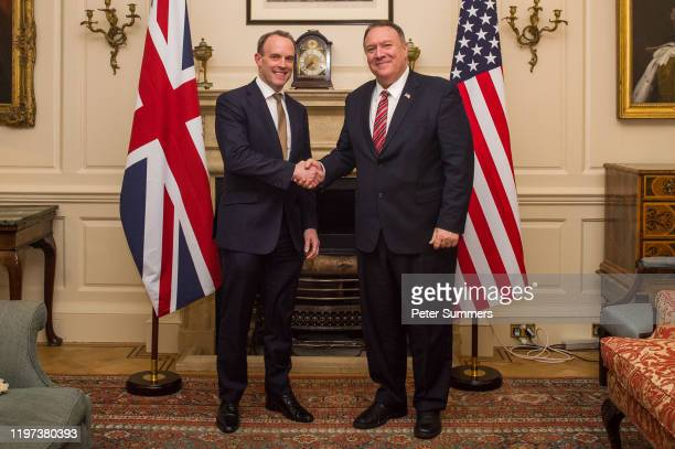 Foreign Secretary Dominic Raab meets US Secretary of State Mike Pompeo at the Foreign Secretary's Residence on January 29 2020 in London England Mike...