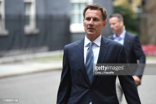 Foreign Secretary Jeremy Hunt arrives as government minister meet to discuss deepening Iran crisis in Downing Street on July 20, 2019 in London,...