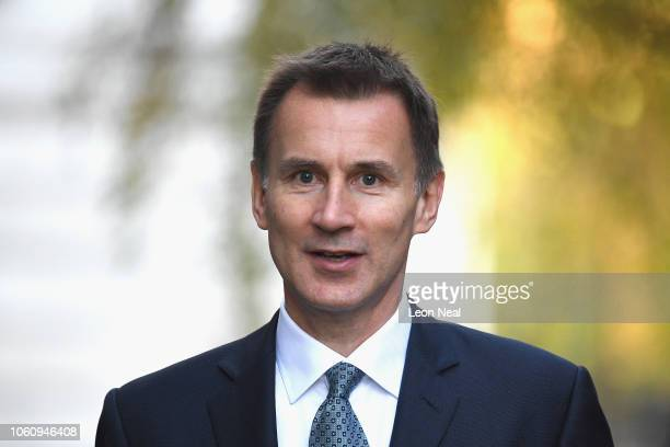 Foreign Secretary Jeremy Hunt arrives at 10 Downing Street on November 13 2018 in London England