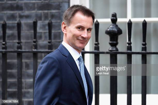 Foreign Secretary Jeremy Hunt arrives back at 10 Downing Street after attending a cabinet meeting on November 13 2018 in London England