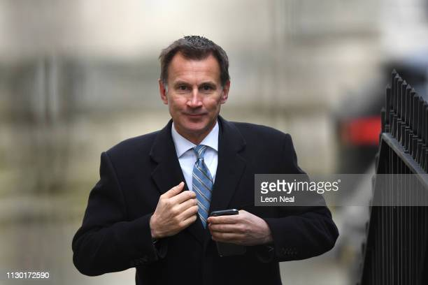 Foreign Secretary Jeremy Hunt arrives for a cabinet meeting at Downing Street on March 13, 2019 in London, England. Last night MPs voted 242 to 391...