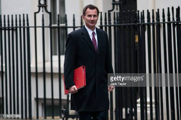 Foreign Secretary Jeremy Hunt arrives for the weekly Cabinet meeting on April 2 2019 in London England Cabinet ministers are meeting Downing Street...