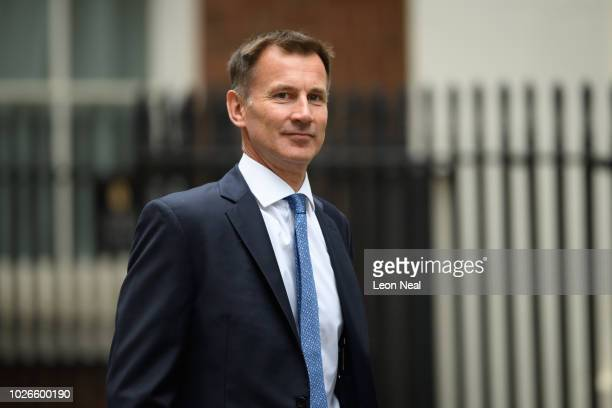 Foreign Secretary Jeremy Hunt arrives in Downing Street ahead of the first Cabinet meeting following the Summer recess at Downing Street on September...