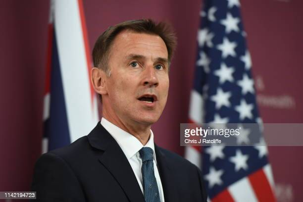 Foreign Secretary Jeremy Hunt attends a joint press conference with US Secretary of State Mike Pompeo at Foreign Commonwealth Office on May 8 2019 in...