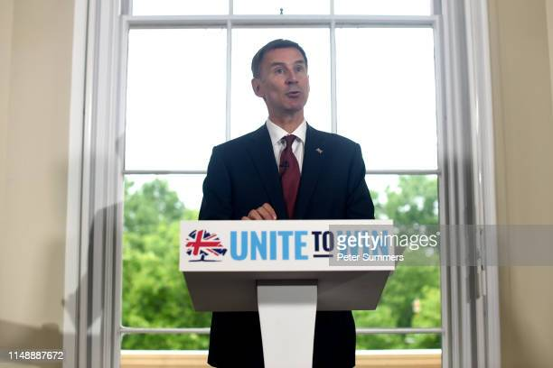 Foreign Secretary Jeremy Hunt launches his bid for the leadership of the Conservative Party, on June 10, 2019 in London, England. Prospective...