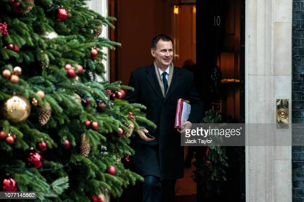 Foreign Secretary Jeremy Hunt leaves 10 Downing Street after Government Ministers attended a weekly cabinet meeting ahead of a meaningful vote debate...