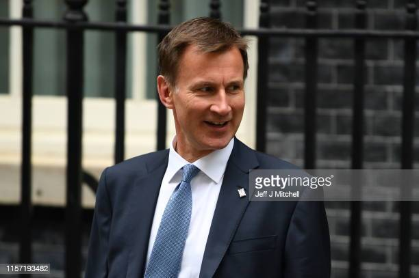 Foreign Secretary Jeremy Hunt leaves Downing Street after a cabinet meeting on July 22, 2019 in London, England. Prime Minister Theresa May chaired...