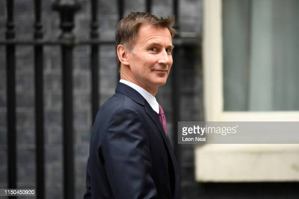 Foreign Secretary Jeremy Hunt leaves following a cabinet meeting at Downing Street on June 18, 2019 in London, England. The Conservative leadership...