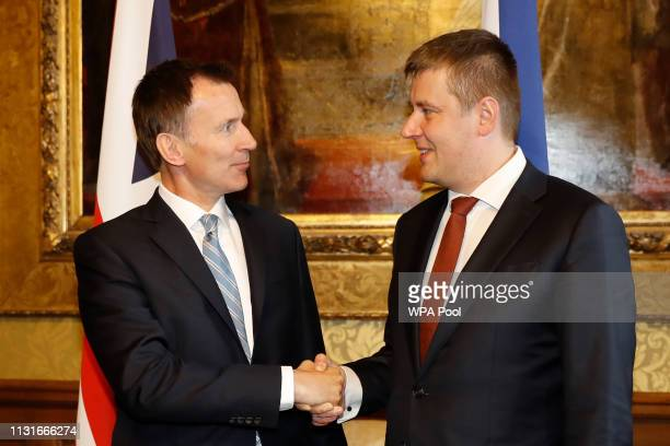 Foreign Secretary Jeremy Hunt shakes hands with his Czech counterpart Tomas Petricek prior on arrival at the Foreign office on March 20 2019 in...